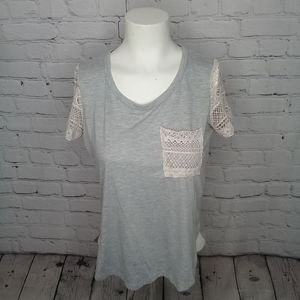 Jolt Heather grey tee w/crocheted sleeves Sz S